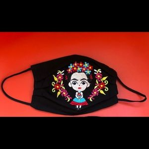 ARTISANAL EMBROIDERED FRIDA KAHLO WITH FLOWER MASK
